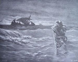 gravure dore bible - jesus marche sur les eaux