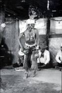 Native American Blindfolded in Ritual Dance.